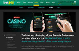 Receive 25% Cashback with Bet365's Mobile Casino